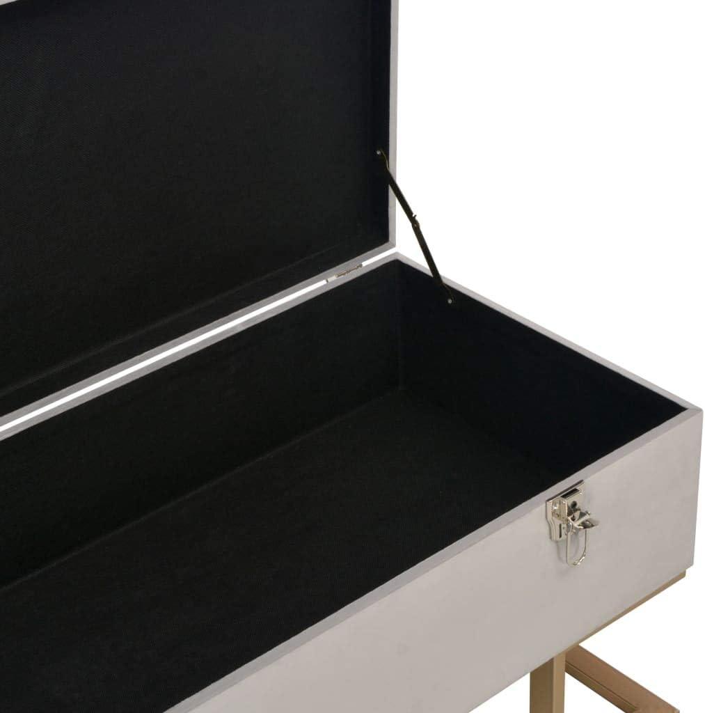 vidaXL Banc avec Compartiment de Rangement Tabouret Si/ège Banquette Pouf Bout de Canap/é Chambre /à Coucher Salon Int/érieure Maison 105 cm Gris Velours
