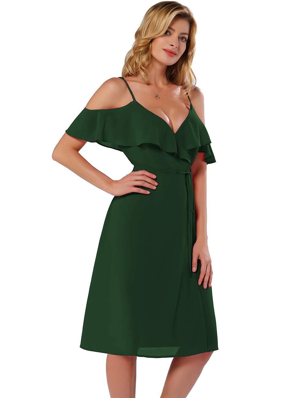 M/&S/&W Womens Summer Chiffon Floral Printed Cold Shoulder Short Dress