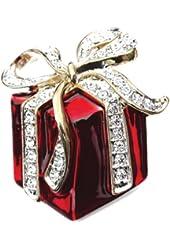 Rhinestone Red Present Gift Christmas Brooch Pin