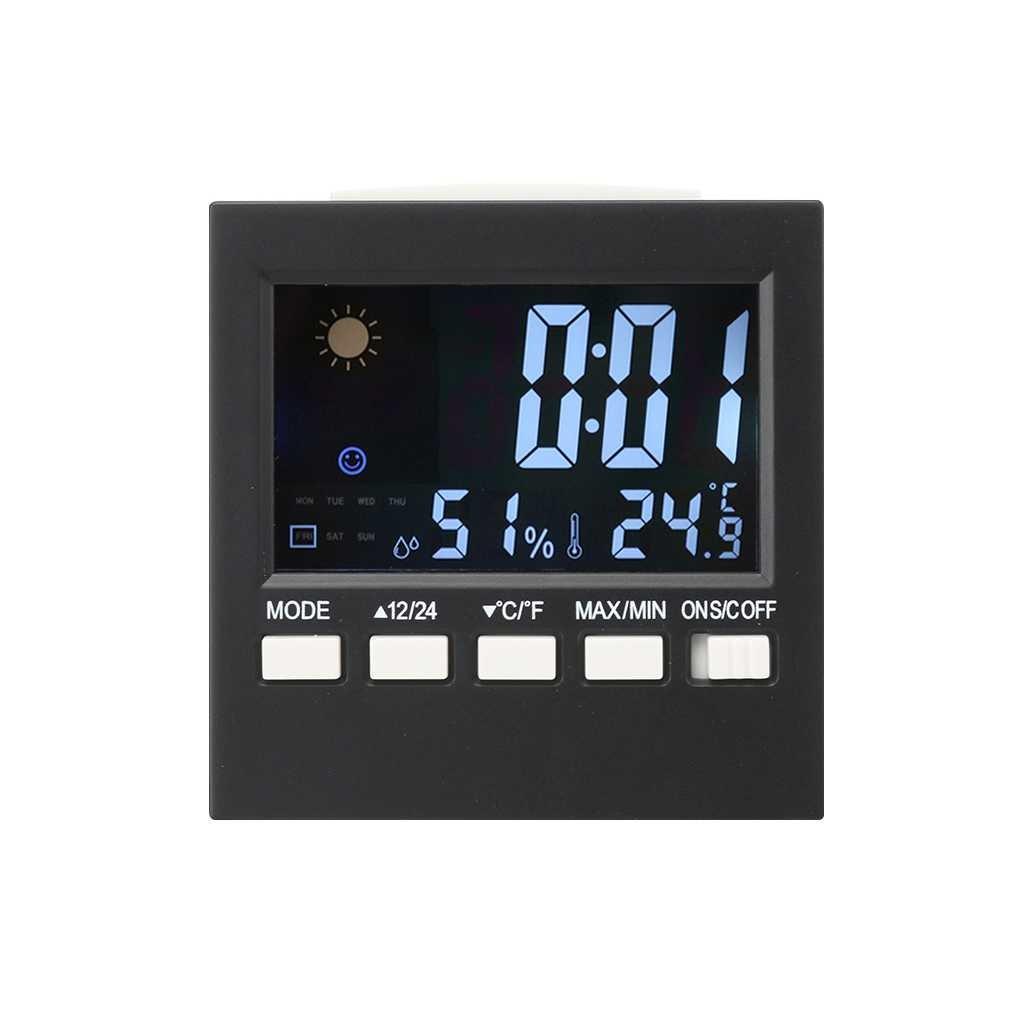 Multifonction numérique LCD coloré thermomètre hygromètre horloge Fonction Snooze Alarme Calendrier Prévisions Republe