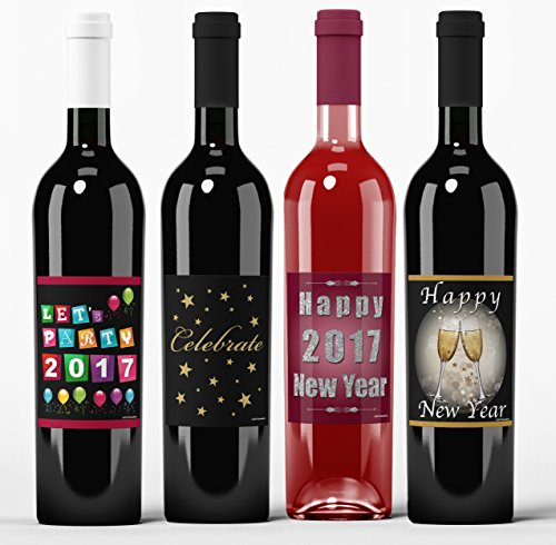 Happy New Year 2017 Wine Labels, NYE Wine Label Decorations, Wine Toast Label, Let's Party Label, Celebrate 2017 Label, Happy 2017 Wine Label, Black, Gold and Red Wine Labels, Set of 4, PlacematCity