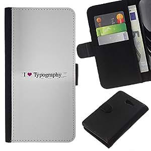 LECELL--Cuero de la tarjeta la carpeta del tirón Smartphone Slots Protección Holder For Sony Xperia M2 -- Amo Tipografía --