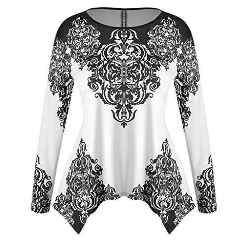 Sharemen Fashion Plus Size Clothing for Women Womens Printed Flare Sleeve Tops Blouses T-Shirts(White,XXL)
