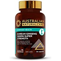 Australian NaturalCare 500mg Korean Ginseng Super Strength Capsules, 50 Count