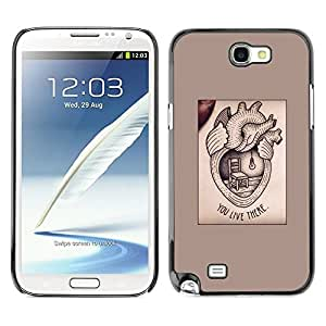 FlareStar Colour Printing Heart Medicine Text Love Valentine cáscara Funda Case Caso de plástico para SAMSUNG Galaxy Note 2 II / N7100