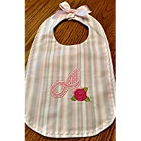 Initial with rose applique baby bib, back side is Paris fabric