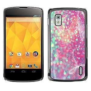 For LG Google NEXUS 4 / Mako / E960 Case , Teal Pink Purple Sparkly Snow - Diseño Patrón Teléfono Caso Cubierta Case Bumper Duro Protección Case Cover Funda