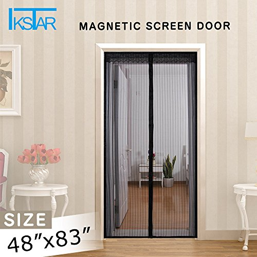 IKSTAR Magnetic Screen Door with Heavy Duty Mesh Curtain,Full Frame Velcro,Fits Door Up 46x82,Instant Bug Mesh,Self-Seal Easy Open and Close Design