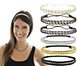 Beaute Galleria - Bundle 6pcs Stretchy Elastic Non Slip Braided Plaited Women Headbands Hair Bands with Double Braided (3pcs) n Triple Strand Twisted (3pc) Hippie Boho Bohemian Style