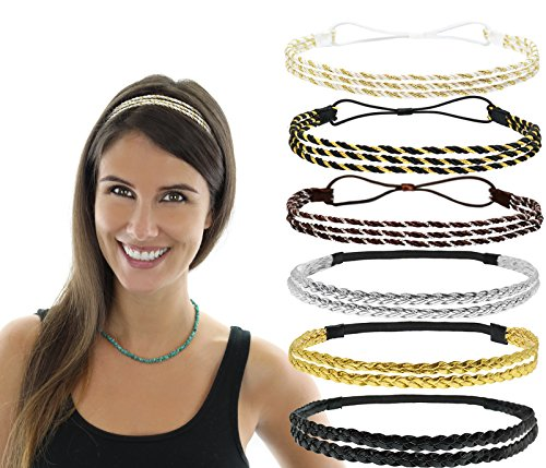 Beaute Galleria - Bundle 6pcs Stretchy Elastic Non Slip Braided Plaited Women Headbands Hair Bands with Double Braided (3pcs) n Triple Strand Twisted (3pc) Hippie Boho Bohemian Style by Beaute Galleria