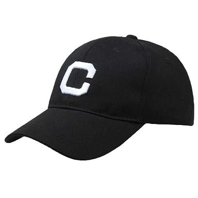 41f379010da UJUNAOR Men Women Letter Hats Hip-Hop Adjustable Baseball Cap(Black ...