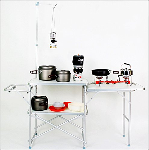 Anniversary-Special-OfferCamping-Kitchen-Folding-Outdoor-Pack-Away-Protable-Folding-Table-Deluxe-Kitchen-Aluminum-Frame-with-Carrying-Bag-61x20x51Silver