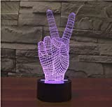 3D Victory Sign Gesture Night Light Touch Table Desk Optical Illusion Lamps 7 Color Changing Lights Home Decoration Xmas Birthday Gift