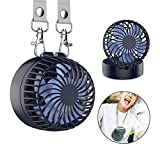 EasyAcc Battery Operated Necklace Fan Rechargeable Personal Fan with 2600mAh Battery and 3 Setting 6-18H Working Hours 180° Rotating Free Adjustment for Camping/Outdoors/Travel – Royal Blue