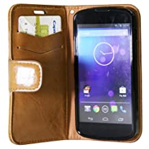 Exian NEX4009-Beige Nexus 4 Leather Wallet Case Beige-Retail Packaging
