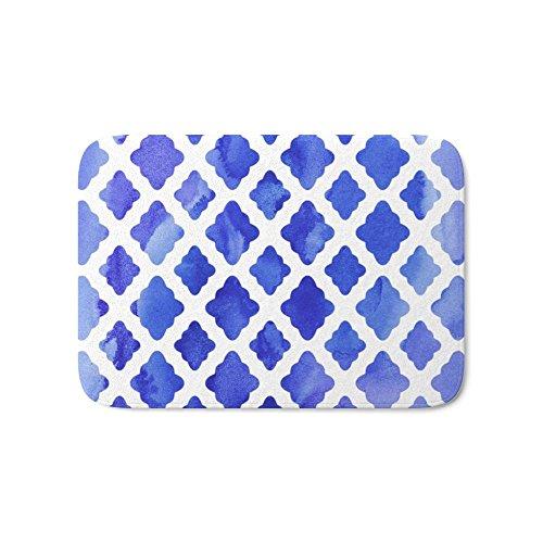 "Society6 Watercolor Diamonds In Cobalt Blue Bath Mat 17"" x 24"""