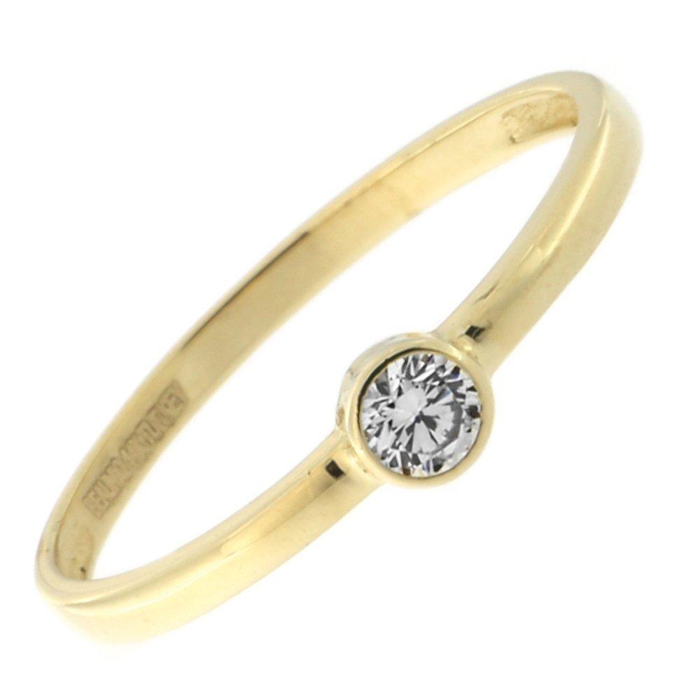 14k Yellow Gold Bezel Set Cubic Zirconia Solitaire Ring, size 5.5