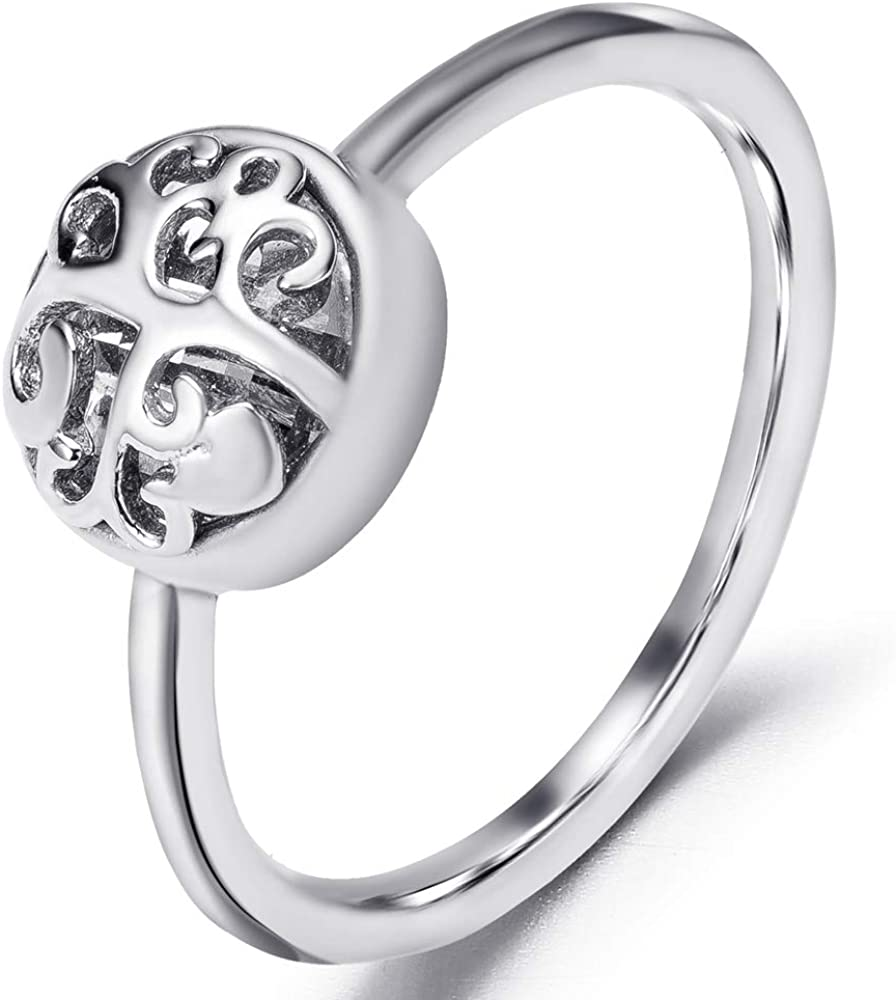 Jude Jewelers Stainless Steel Tree of Life Heart Shaped Cocktail Party Statement Ring