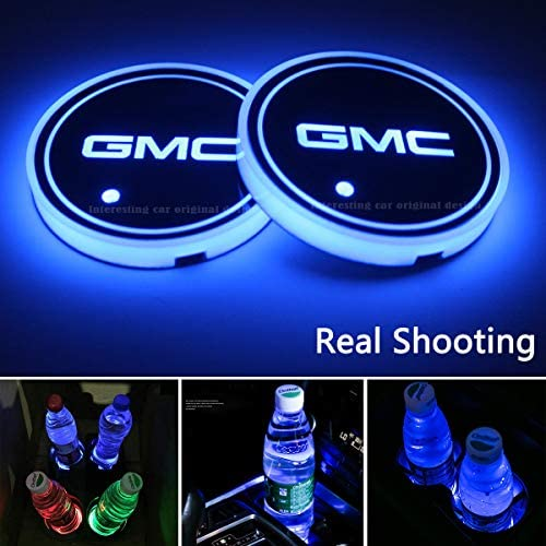 Heart Horse LED Cup Holder Lights 2 PCS, Waterproof Luminescent Cup Pad Interior Atmosphere Lamp Decoration Light for Ford Accessories Car Logo Coaster with 7 Colors Changing USB Charging Mat