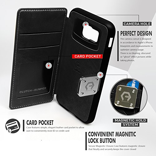 buy popular 83f5a 9b10f Galaxy S7 Edge Case, Arium [Clutch] Premium Wallet [Black] - Import ...