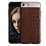 KolorFish Crocodile Leather Pattern Thin Back Business Series Case Cover for Apple iPhone 7 Plus / iPhone 8 Plus (Brown)
