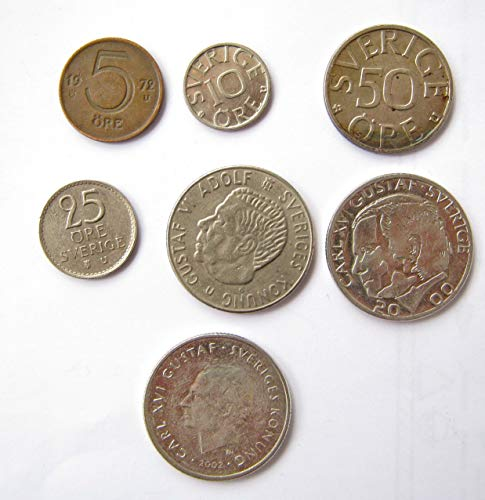 Lot of Swedish Sweden Coins Ore Krone European Coins Very Fine