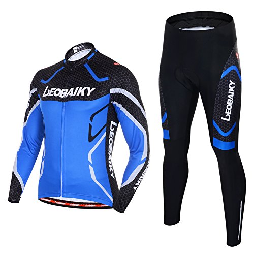Leobaiky Spring Autumn Winter Mens Cycling Clothing Set Sportswear Suit 0utdoor Sports Bicycle Bike Long-Sleeved Cycling Jerseys and Pants (US M (Asia L), Blue)