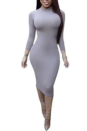 88c8396da ALAIX - Atractivo Vestido de Cuerpo Entero para Mujer, Falda con Manga  Larga, Cuello Alto y Largo por Debajo de Las Rodillas