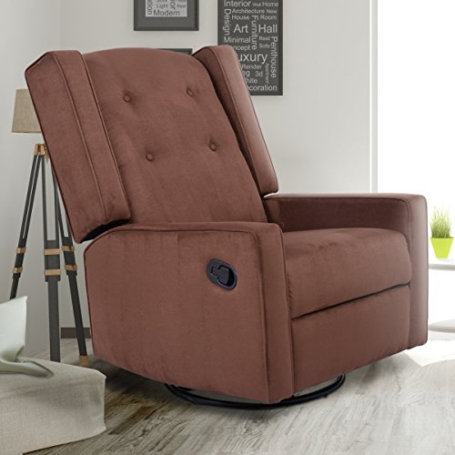 Giantex Swivel Gliding Recliner Rocker Chair Suede Tufted Upholstered Glider  For Nursery, Study And Living