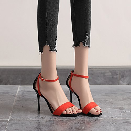 Verano gules De Tacon Zapatos Alto Mujer Los 9 Joker Zapatos Sandalias De Dedos Hollow Cm Delgados Mujer Pies GTVERNH De Tacones Cinturon 4xf1qZw4