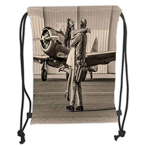 New Fashion Gym Drawstring Backpacks Bags,Vintage Airplane Decor,Brunette Young Woman Hugging a Pilot Historic Aircraft Homecoming Image Decorative,Sepia Soft Satin,Adjustable Str]()