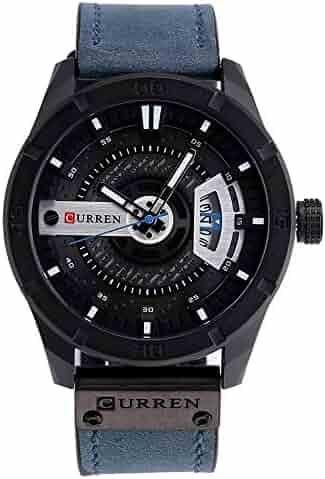 a75a49fc KA 8301 Original Good Quality Men's Sports Waterproof Date Leather Strap  Wrist Watch (Blue)