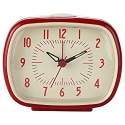 Lily's Home Quiet Non-ticking Silent Quartz Vintage/Retro Analog Alarm Clock - RED
