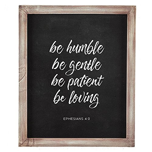 Humble, Gentle, Patient, Loving - Ephesians 4:2 Wall Plaque: Christian wall plaque with Scripture verse from Ephesians 4:2, Made of wood with framed glass, Hooks for hanging purposes