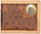 Custom Cowboy Church, Praying Cowboy Brown Ostrich Print Bi-Fold Wallet