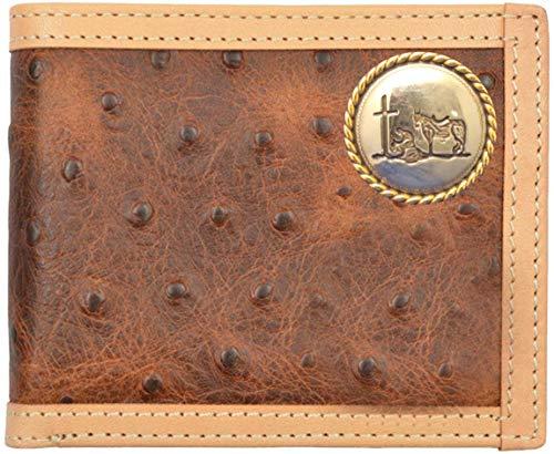 Custom Cowboy Church, Praying Cowboy Brown Ostrich Print Bi-Fold Wallet by Genuine Texas Brand