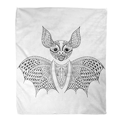 Emvency Throw Blanket Warm Cozy Print Flannel Zentangle Bat Totem for Adult Anti Stress Coloring Page Therapy Tribal Comfortable Soft for Bed Sofa and Couch 60x80 -