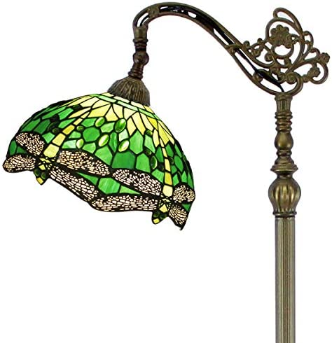 Tiffany Style Reading Floor Lamp Lighting W12H64 Green Stained Glass Dragonfly Lampshade Antique Adjustable Arched Standing Base S459 WERFACTORY LAMPS Girlfriend Lover Living Bedroom Beside Table Gift