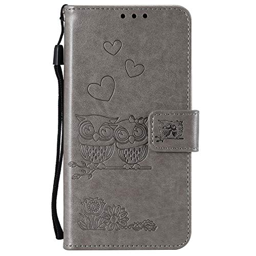- Lomogo Embossed Owl Galaxy A10 Case Leather Wallet Case with Kickstand Card Holder Shockproof Flip Case Cover for Samsung Galaxy A10 - LOHHA100383 Grey