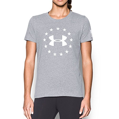 Under Armour Women's Freedom Logo Short Sleeve, True Gray Heather/White, Small