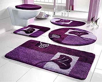 Tapis de salle de bain 80 x 150 cm tapis de bain mauve Amazon