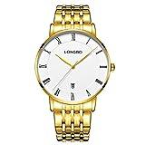 Men'S Quartz Watch Business Gold Stainless Steel Dress Wrist Roman Numeral Watches Calendar Date Window