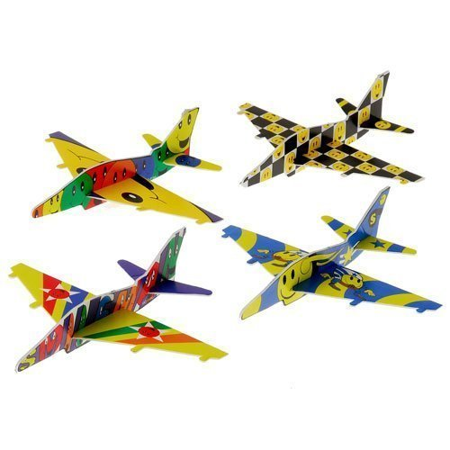 (Assorted Color Emoji Theme Styrofoam Glider Jet Fighter Airplane Toys)