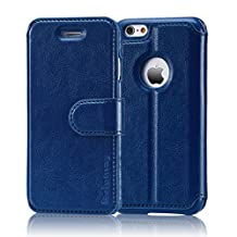 BELEMAY iPhone 6S Plus Case, iPhone 6 Plus Cases, Genuine Leather Wallet, Folio Book Cover with Magnetic Closure Credit Card Slots Kickstand Money Pouch for iPhone 6s Plus / 6 Plus - Navy Blue