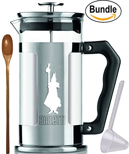 Bialetti-06852-Preziosa-8-Cup-33oz-French-Press-Coffee-Maker-Stainless-Steel-Silver-Zonoz-Wooden-Stirring-Spoon-Bundle