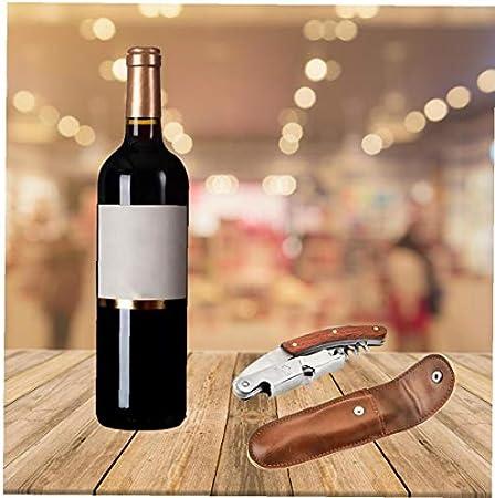 Nicedier Botella de Vino de Acero Inoxidable de Vino del abrelatas del sacacorchos abrelatas con Estuche de Cuero para la Herramienta de la Cocina Principal Partido Restaurante