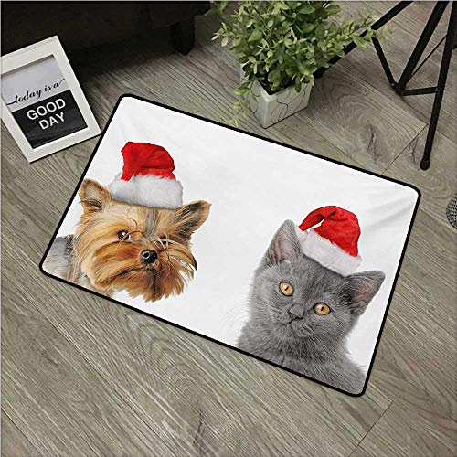 Anzhutwelve Christmas,Floor mat Adorable Cat and Dog with Xmas Hats Domestic Pet Animals Holiday Celebration W 16