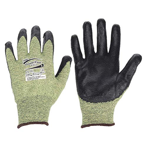 (Ansell 80-813-11 Size 11 PowerFlex 80-813 13 Gauge Medium Duty Special Purpose Cut and Flame Resistant Foam Palm Coated Work Gloves with Dupont Kevlar Liner and Knit Wrist, Plastic, 1