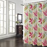 Pink and Cream Shower Curtains DS BATH Spring Bloom Colorful Leaves Shower Curtain,Polyester Shower Curtain,Plants Shower Curtains for Bathroom,Floral Bathroom Curtains,Waterproof Bath Curtain,72