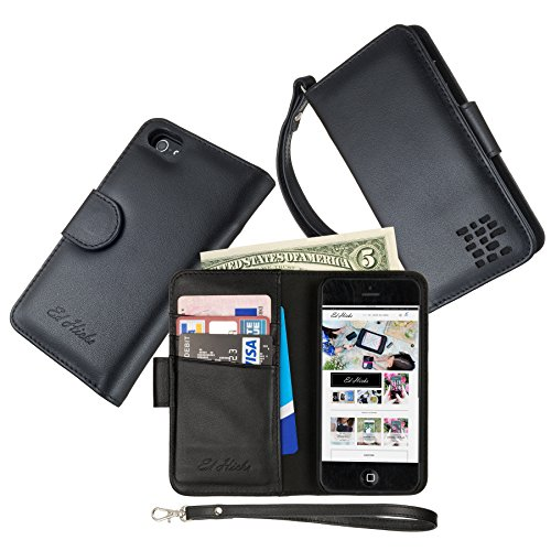 Full Width Pockets - The ONLY PERSONALIZED CUSTOMIZED MONOGRAMMED iPhone SE Wallet Case with FULL Width Bill Pocket. Luxury Soft Genuine Leather All-in-One iPhone 5S Case with 2 Pockets, 3 Card Holder Slots. Strap. Black